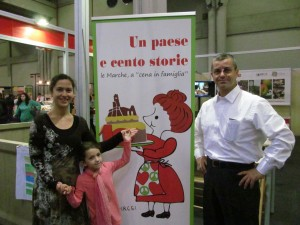 Me, Walter (Food & Wine guy at WLB) and our little Costanza with Dirce at Salone del Gusto, Turin.