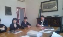 Il sindaco di Fermignano Cancellieri durante la conferenza stampa per le celebrazioni di Bramante