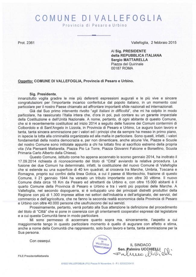Lettera Ucchielli al Presidente Mattarella