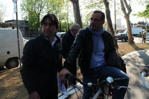 Biancani e Ricci all'inaugurazione della nuova bicipolitana