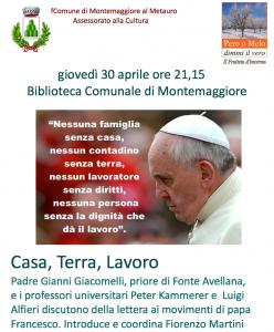 """""""Casa, Terra, Lavoro"""": a Montemaggiore dialogo con padre Gianni Giacomelli, Peter Kammerer e Luigi Alfieri"""