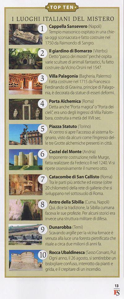 La classifica dei luoghi del mistero di Focus storia di aprile 2015: Sasocorvaro è nella top ten
