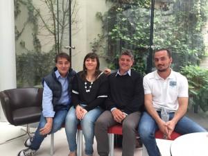 Da sinistra Luciano Cecchini (Alberghi Consorziati), Caterina Del Bianco (assessore allo Sport Fano), Simone Spinaci e Giorgio Brunacci (Fano Rugby)