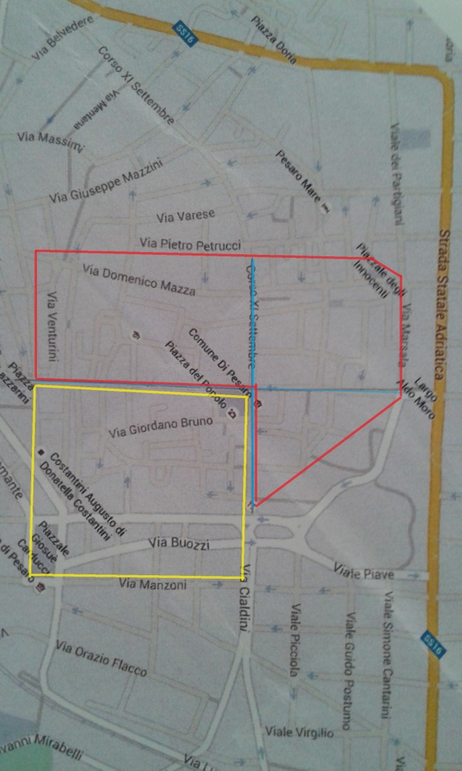 La mappa di Pesaro  con la parte della città  completamente 'dimenticata' da progetti, eventi e rivalutazione secondo il Comitato Carducci