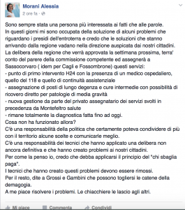 Il post di Alessia Morani