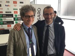 Il sindaco Ricci col giornalista di Radio Rai Riccardo Cucchi