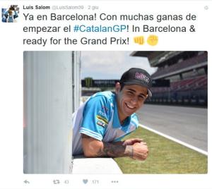 Luis Salom sorridente in un tweet di ieri
