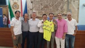 I dirigenti dell'Italservice PesaroFano con Alessandro Mengucci di Consultinvest e l'assessore Mila Della Dora