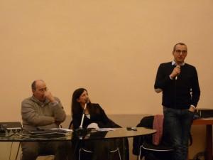 Roberto Drago, Sara Mengucci e Matteo Ricci durante il convegno
