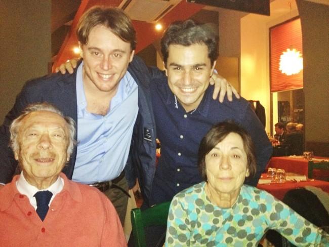 Saimir Pirgu e Michele Mariotti col maestro Alberto Zedda e signora