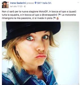 Il post su Fb di Irene Saderini
