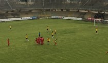 L'esultanza dei calciatori vissini alla rete di Mureno