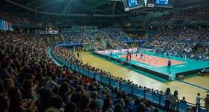 L'Adriatic Arena durante l'ultima presenza azzurra- Italia-Serbia (Foto Fipav)