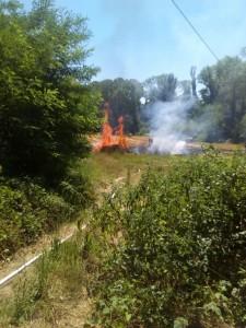 L'incendio sviluppatosi a Carignano