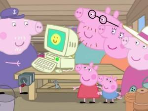 Nonno Pig al computer