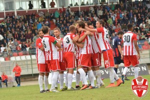 La Vis esulta dopo la vittoria con L'Aquila (Foto Filippo Baioni)