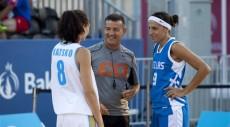 Il sorriso di Gianluca prima di una partita di 3 contro 3 (dal sito web della FIBA)