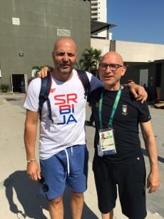 Il dottor Piero Benelli con Sasha Djordjevic, ex Vuelle, allenatore della Serbia ai Giochi Olimpici di Rio 2016