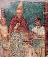 Bonifacio VIII indice il Giubileo del 1300 -Giotto frammento di affresco