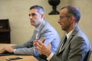 Il sindaco di Parma Pizzarotti assieme al sindaco di Pesaro Ricci