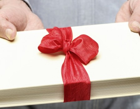 Giving book as a present