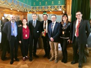 Delegazione dei Paesi Bandiera Arancione della Regione Marche, rappresentate dai Comuni di Gradara, Mercatello sul Metauro e San Ginesio.