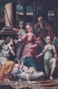 Raffaellino del Colle - Madonna del Velo con gli arcangeli Gabriele Raffaele e Michele