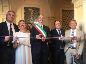 Taglio del nastro al Museo Nazionale Rossini con - da sinistra - Luca Ceriscioli, Ilaria Narici, Matteo Ricci, Daniele Vimini e Marco Cangiotti