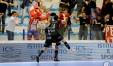 Esultanza dei calciatori dell'Italservice a Montesilvano per il match con l'Acqua&Sapone