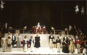 Un momento della prima mondiale de Il viaggio a Reims (Pesaro, 1984, archivio Rof)