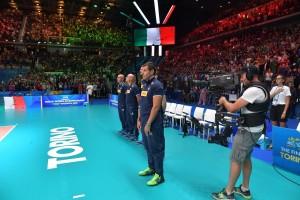 Piero con tutto lo staff della Nazionale italiana di pallavolo maschile