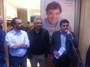 Seri durante l'inaugurazione insieme a Marchegiani e Mascarin