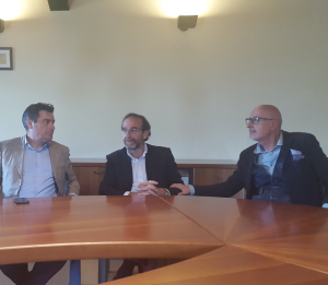 Da sinistra il sindaco di Fano Massimo Seri, il viceministro Riccardo Nencini, il segretario generale della Camera di Commercio Fabrizio Schiavoni