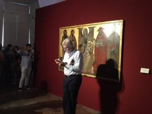 Vittorio Sgarbi durante l'anteprima di  Rinascimento Segretonelle Sale del Castellare di Palazzo Ducale