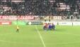 Il cerchio dei calciatori vissini a fine partita sotto il Prato