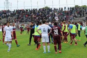 Fano esulta per la vittoria col Bassano (Foto Mario Pucci)