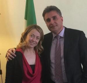 Giorgia Meloni e Antonio Baldelli (Fratelli d'Italia)