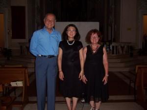Shen Fanxiu  con Giorgio Girelli e Giovanna Franzoni durante il suo concerto a Pesaro