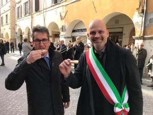 I sindaci di Pergola e Fossombrone Francesco Baldelli e Gabriele Bonci