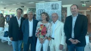 Ilaria Narici con Pinoli, Palacio, Mariotti e Vimini oggi alla presentazione del Rof numero 40