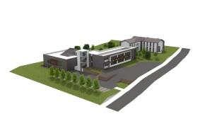 Rendering del progetto complessivo Della Rovere di Urbania con corpo laboratori, aule e Convitto