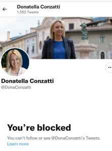 La pagina Twitter di Donatella Conzatti, parlamentare di Italia Viva,  che ha bloccato chi provava a spiegarle la differenza tra Isis e talebani