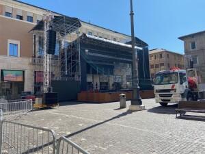 Piazza del Popolo si prepara a ospitare il presidente della Repubblica ospite di Pesaro per il Gala che chiude il 42° Rossini Opera Festival